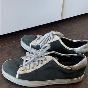Navy Blue and silver tod sneakers